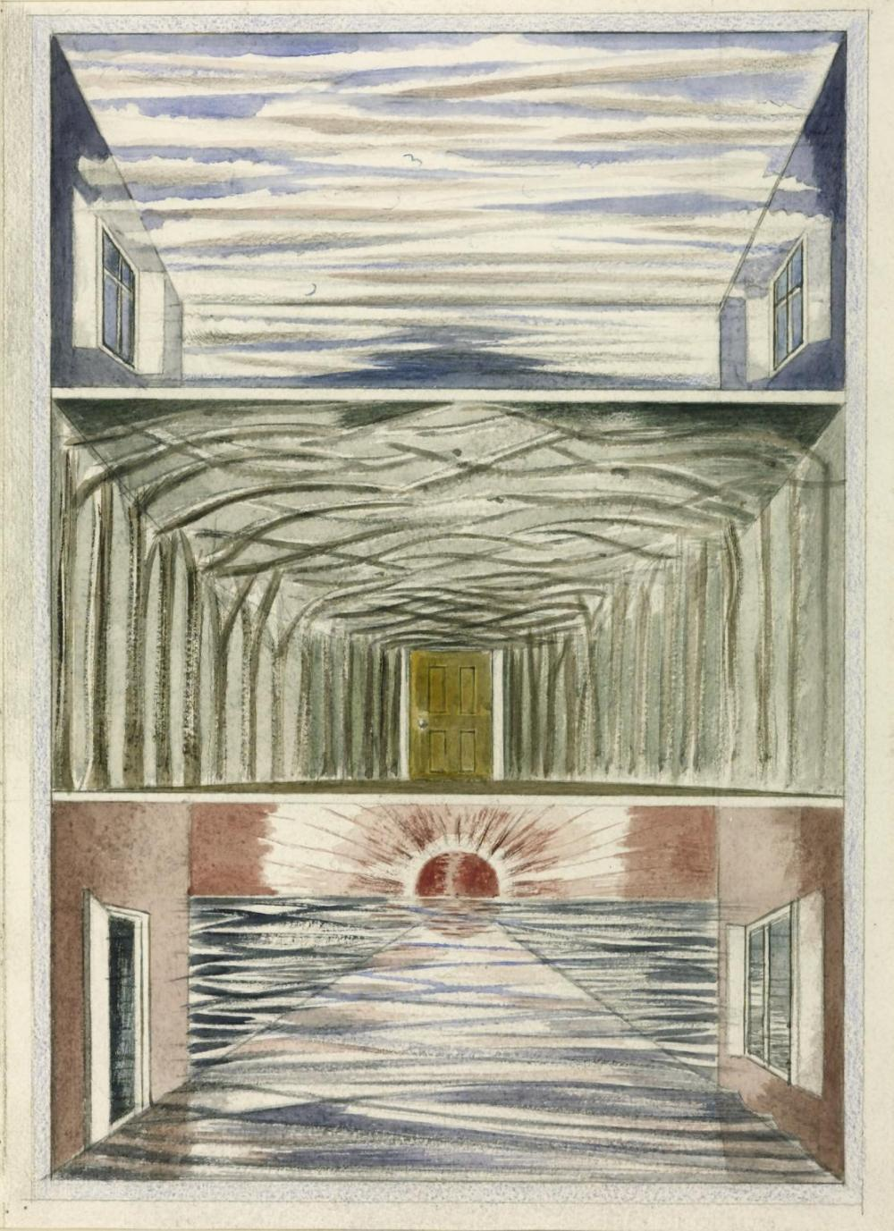 Three Rooms 1937 by Paul Nash 1889-1946